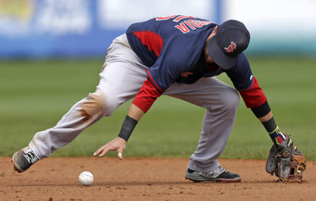 Boston Red Sox second baseman Dustin Pedroia (15) chases after a line drive by Tampa Bay Rays James Loney in the second inning of an exhibition baseball game in Port Charlotte, Fla., Tuesday, March 25, 2014. (AP Photo/Gerald Herbert)