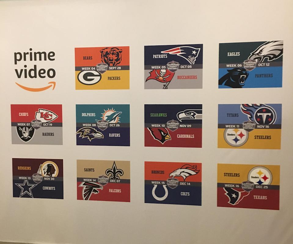 A wall at Amazon's AWS Loft in Manhattan showing its streaming NFL games. (Daniel Roberts/Oath)