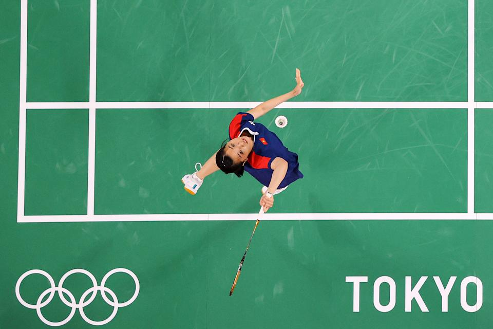 <p>Nguyen Thuy Linh of Team Vietnam competes against Sabrina Jaquet of Team Switzerland during a Women's Singles Group P match on day five of the Tokyo 2020 Olympic Games at Musashino Forest Sport Plaza on July 28, 2021 in Chofu, Tokyo, Japan. (Photo by Lintao Zhang/Getty Images)</p>