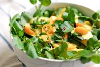 """<div class=""""caption-credit""""> Photo by: Brooklyn Supper</div><b>Watercress and Kumquat <br></b> Salad Kumquats, often thought to be a citrus fruit, or not, but the consensus on flavor is that they're tiny bites that are both sweet and sour. I've come to love them for they're bite, and intense citrus flavor. Kumquats played a starring role in this watercress and avocado salad. The piquant and creamy dressing compliments healthy, crisp watercress and creamy avocado. <br> <a href=""""http://www.babble.com/best-recipes/healthy-holiday-15-eye-catching-salad-recipes/#watercress-and-kumquat-salad"""" rel=""""nofollow noopener"""" target=""""_blank"""" data-ylk=""""slk:Get the recipe"""" class=""""link rapid-noclick-resp""""><i>Get the recipe</i></a> <br>"""