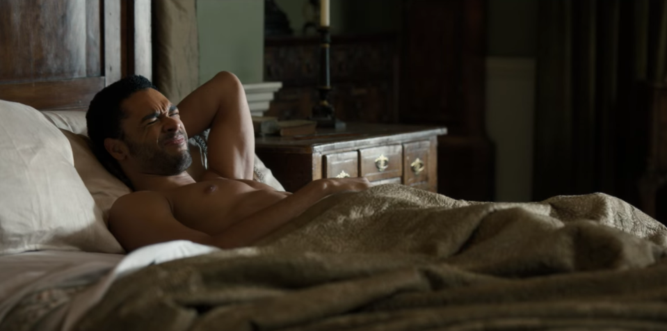 """<p>Showrunner Chris Van Dusen shifted the perspective of all of the sex scenes to the """"female gaze,"""" where Daphne Bridgerton's desires are the main focus. """"I'm so used to seeing that the other way around,"""" Phoebe Dynevor, who plays Daphne, told <a href=""""https://www.nytimes.com/2020/12/18/arts/television/bridgerton-netflix-shonda-rhimes.html?smtyp=cur&smid=tw-nytimes"""" rel=""""nofollow noopener"""" target=""""_blank"""" data-ylk=""""slk:The New York Times"""" class=""""link rapid-noclick-resp""""><em>The New York Times</em></a>. """"I'm used to seeing the woman drop her clothes for the man who is lying back in bed.""""</p>"""