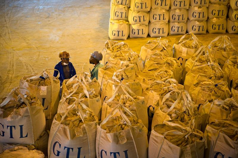 Bags of a mixture of cobalt and copper in Lubumbashi, DR Congo, on December 1, 2011