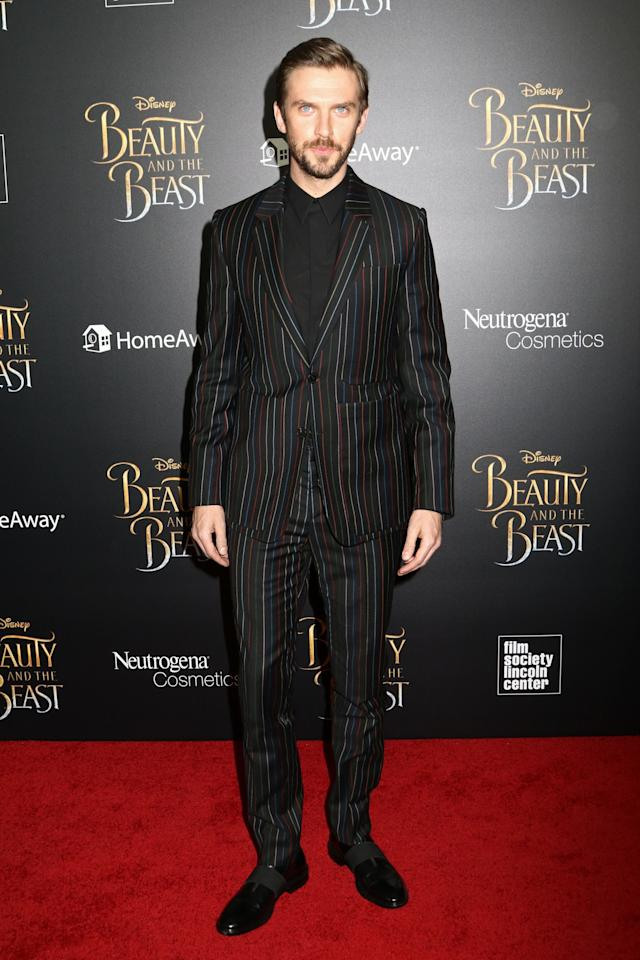 <p>Wearing a striped Givenchy by Ricardo Tisci suit. [Photo: PA] </p>