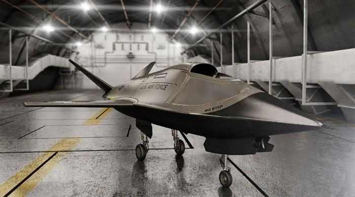 The Kratos Valkyrie drone in a hanger.