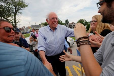 FILE PHOTO: Democratic 2020 U.S. presidential candidate Sanders greets supporters before marching in the Nashua Pride Parade in Nashua