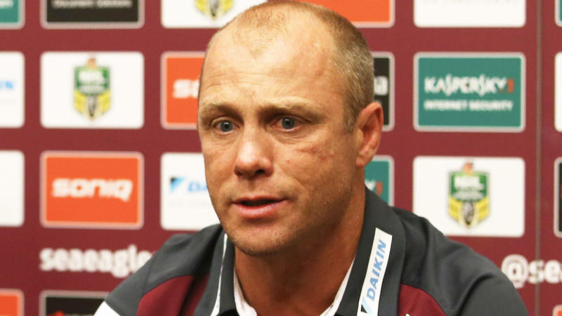 Former Manly coach Geoff Toovey speaks during a press conference.