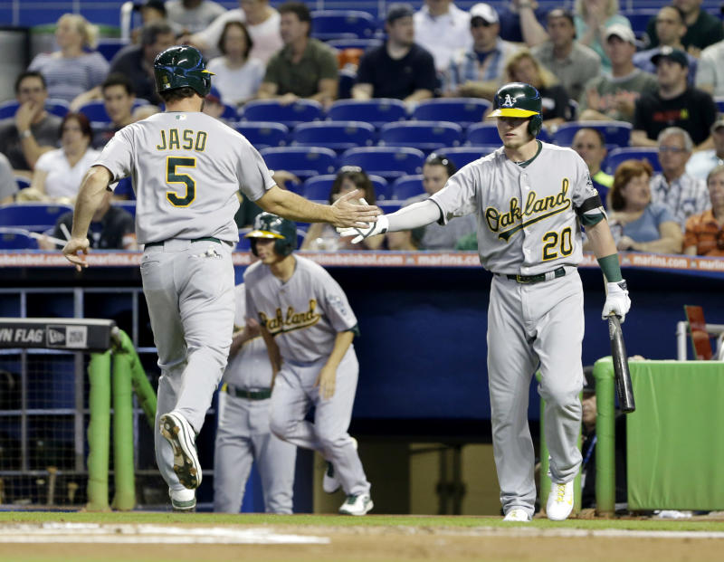 Athletics beat Marlins 7-6 in 14 innings