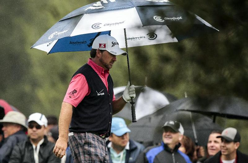 Graeme McDowell walks off the tee box on the second hole during the final round of the World Challenge golf tournament at Sherwood Country Club in Thousand Oaks, Calif., Saturday, Dec. 2, 2012. (AP Photo/Bret Hartman)