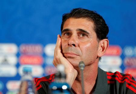 Soccer Football - World Cup - Spain Press Conference - Kazan Arena, Kazan, Russia - June 19, 2018 Spain coach Fernando Hierro during the press conference REUTERS/John Sibley