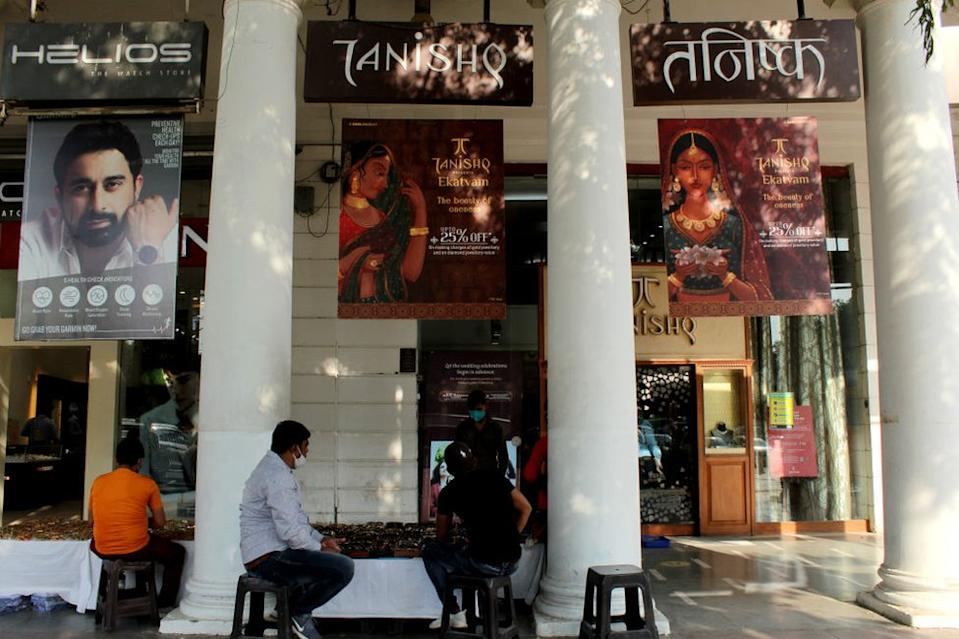 A view of Titan's jewellery brand 'Tanishq' showroom at Connaught Place in New Delhi on October 15, 2020.
