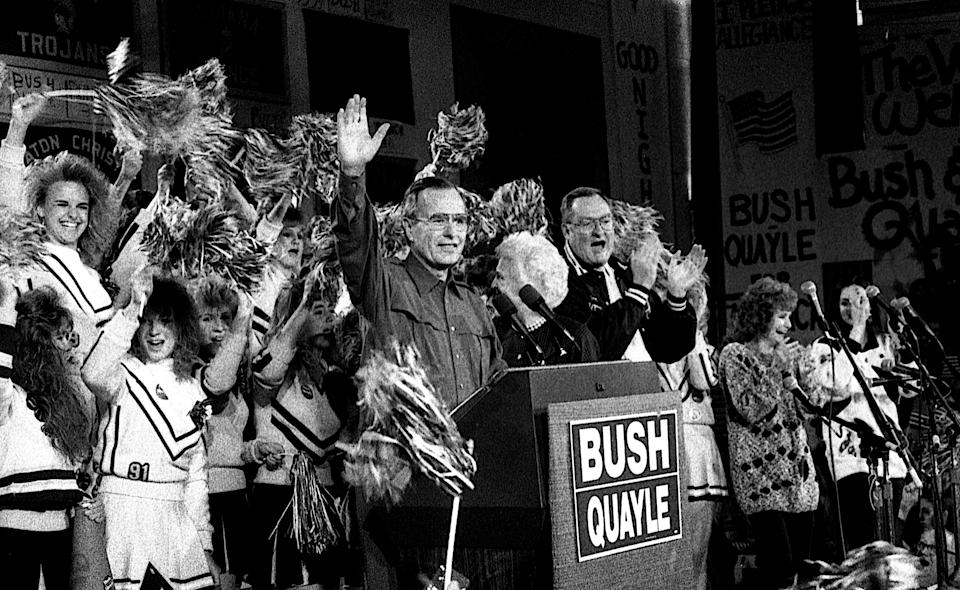 Vice President Bush holds a campaign rally on Chicago's North Side on Oct. 28, 1988, during his winning presidential run.