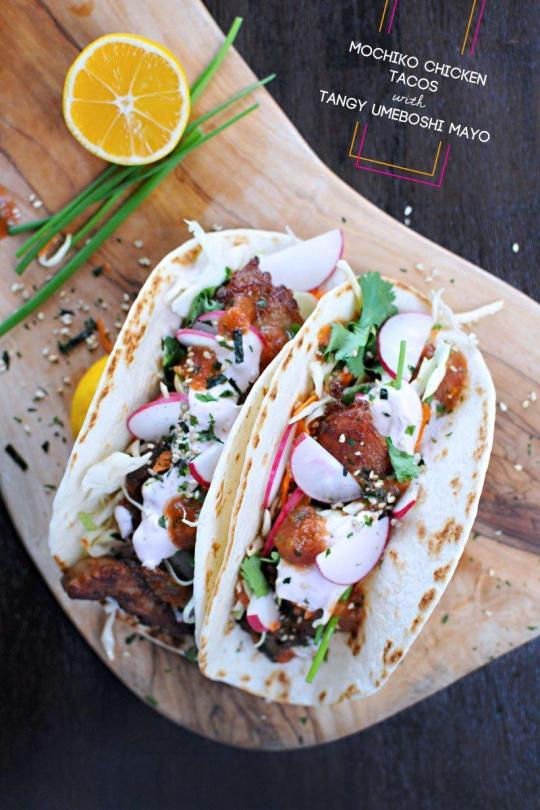 Mochiko Chicken Tacos With Tangy Umeboshi Mayo
