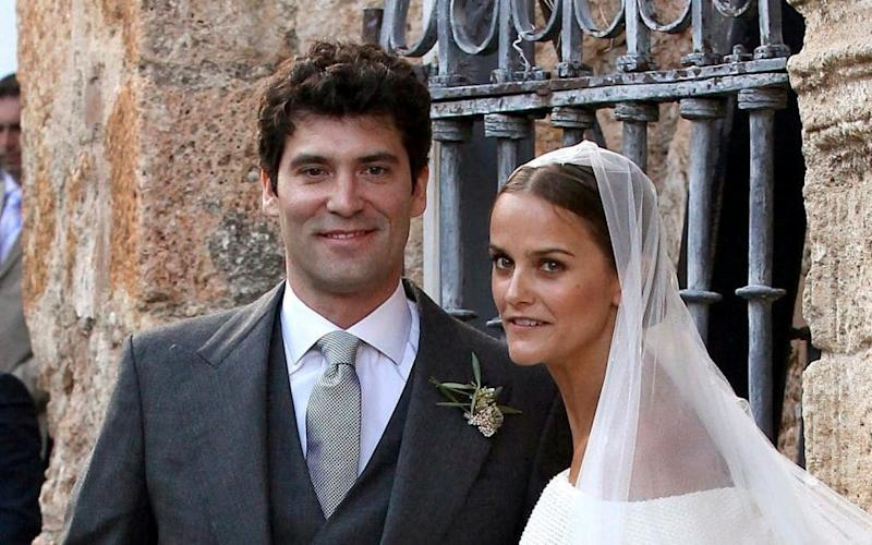 Lady Charlotte with her husband, Colombianbillionaire Alejandro Santo Domingo, on their wedding day - EPA