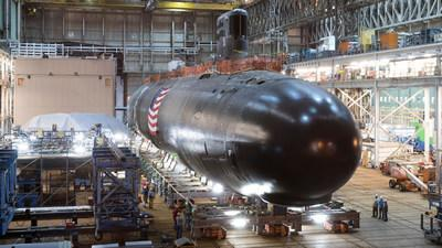 A Virginia-class submarine under construction at General Dynamics Electric Boat in Groton, Connecticut.