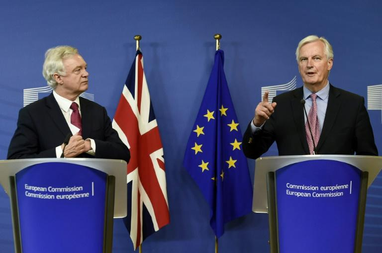 European Union chief negotiator Michel Barnier (right) and Britain's Brexit minister David Davis meet in Brussels on June 19, 2017