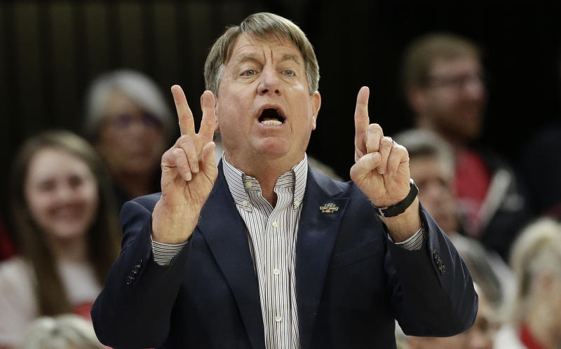 N.C. State head coach Wes Moore directs his players during the first half of a first round women's college basketball game against Maine in the NCAA Tournament in Raleigh, N.C., Saturday, March 23, 2019. (AP Photo/Gerry Broome)