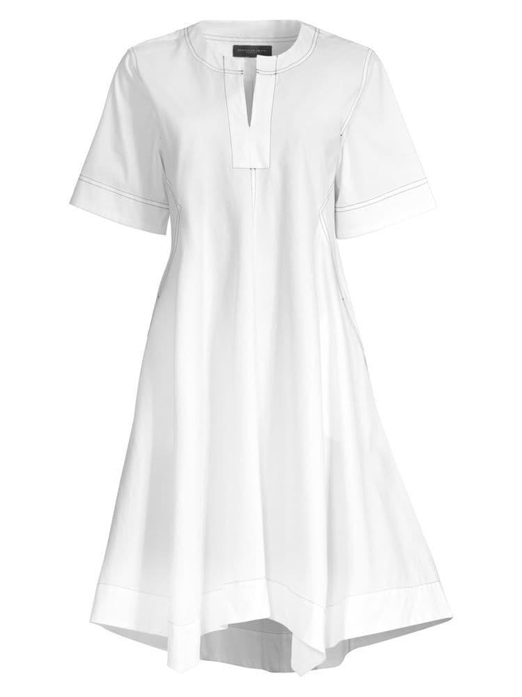 """<p><strong>Donna Karan New York</strong></p><p>saksfifthavenue.com</p><p><strong>$135.00</strong></p><p><a href=""""https://go.redirectingat.com?id=74968X1596630&url=https%3A%2F%2Fwww.saksfifthavenue.com%2Fdonna-karan-new-york-contrast-stitched-v-neck-trapeze-dress%2Fproduct%2F0400010362890&sref=http%3A%2F%2Fwww.townandcountrymag.com%2Fstyle%2Ffashion-trends%2Fg26522706%2Fbest-dresses-for-older-women%2F"""" rel=""""nofollow noopener"""" target=""""_blank"""" data-ylk=""""slk:Shop Now"""" class=""""link rapid-noclick-resp"""">Shop Now</a></p><p>Oversized sleeves and a swingy trapeze hemline makes this white dress the cooler, more stylish sister to your favorite tennis dress. </p>"""