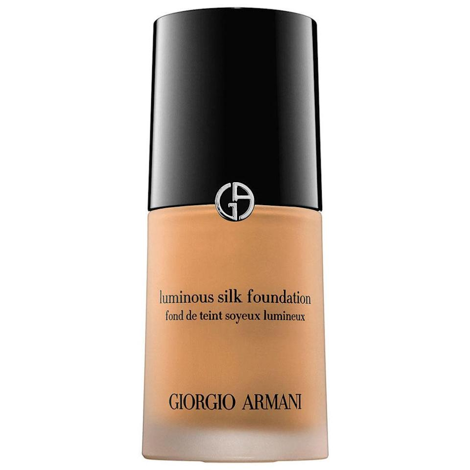 """<p>This lovely cream foundation make skin look and feel as soft as velvet. ($64; <a rel=""""nofollow noopener"""" href="""" http://www1.bloomingdales.com/shop/product/armani-luminous-silk-foundation?ID=149955&pla_country=US&cm_mmc=Google-PLA-ADC-_-Beauty-NA-_-Armani-_-3360372026167USA&CAWELAID=120156070001358871&CAGPSPN=pla&CAAGID=35637420672&CATCI=pla-265916695821&catargetid=120156070004246851&cadevice=c"""" target=""""_blank"""" data-ylk=""""slk:bloomingdales.com"""" class=""""link rapid-noclick-resp"""">bloomingdales.com</a>)</p><p><strong>RELATED: <a rel=""""nofollow noopener"""" href=""""http://www.redbookmag.com/beauty/anti-aging/tips/g742/best-eye-creams-for-dark-circles-and-wrinkles/"""" target=""""_blank"""" data-ylk=""""slk:10 Stellar Eye Creams for Puffy Mornings and Late Nights"""" class=""""link rapid-noclick-resp"""">10 Stellar Eye Creams for Puffy Mornings and Late Nights</a></strong><br></p>"""