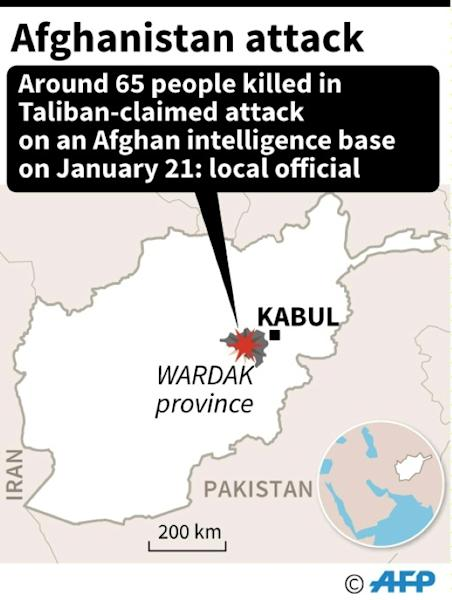 Map locating the attack in Wardak province in Afghanistan on Monday