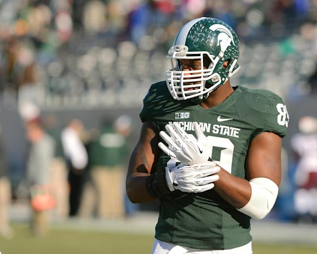 EAST LANSING, MI - NOVEMBER 30: Shilique Calhoun #89 of the Michigan State Spartans looks on prior to the start of the game against the Minnesota Golden Gophers at Spartan Stadium on November 30, 2013 in East Lansing, Michigan. The Spartans defeated the Golden Gophers 14-3. (Photo by Mark A. Cunningham/Getty Images)