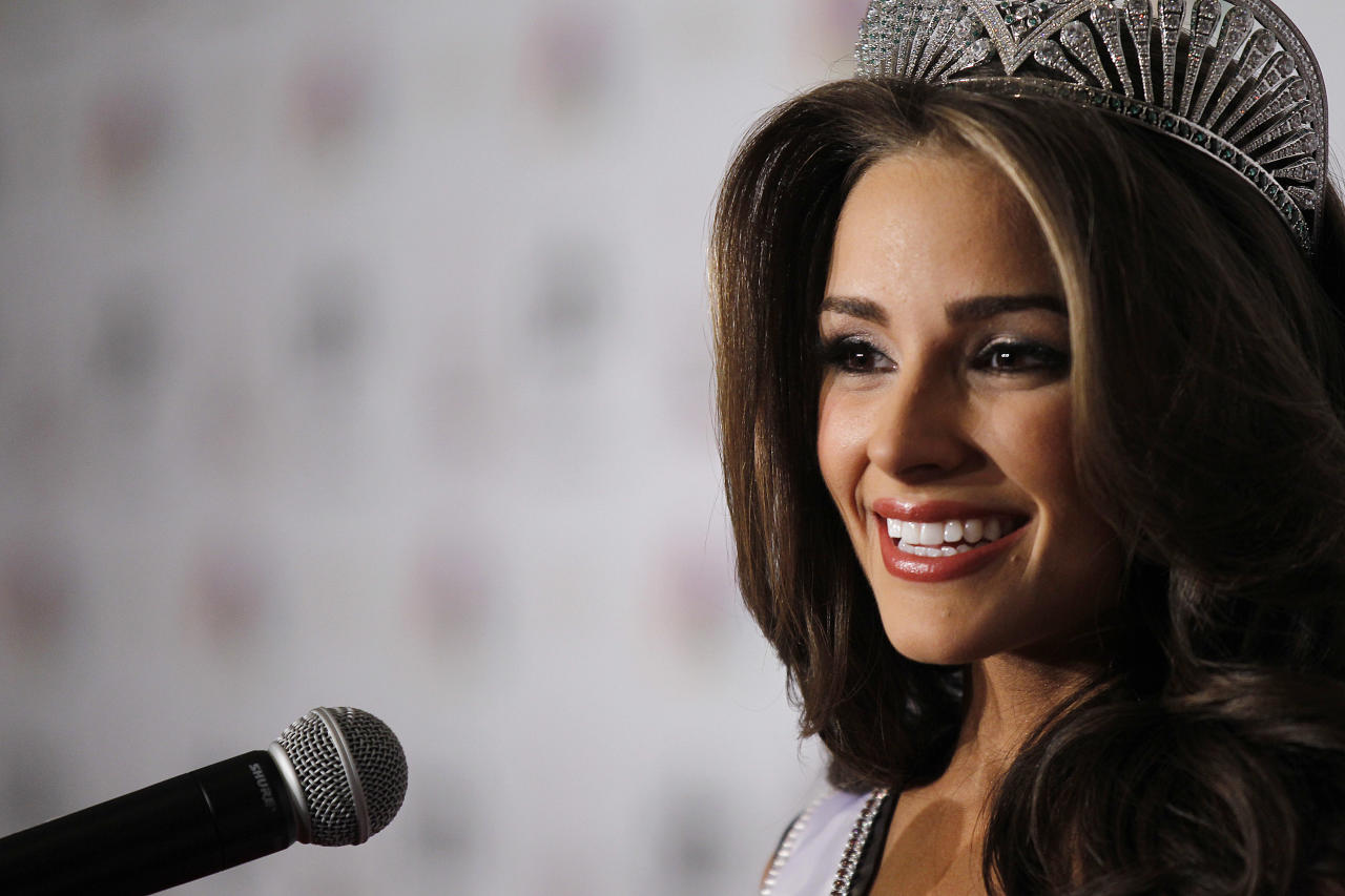 LAS VEGAS, NV - JUNE 3:  Miss Rhode Island USA Olivia Culpo speaks during a news conference after winning the Miss USA 2012 pageant at the Planet Hollywood Resort & Casino on June 3, 2012 in Las Vegas, Nevada.  (Photo by Isaac Brekken/Getty Images)