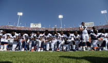 Denver Broncos team take a knee during the national anthem during their game against the Buffalo Bills on September 24, 2017 at New Era Field in Orchard Park, NY. (Photo by John Leyba/The Denver Post via Getty Images)