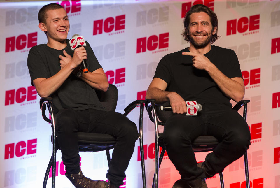 CHICAGO, IL - OCTOBER 12:  Tom Holland and Jake Gyllenhaal during the ACE Comic Con Midwest at Donald E. Stephens Convention Center on October 12, 2019 in Chicago, Illinois.  (Photo by Barry Brecheisen/WireImage)