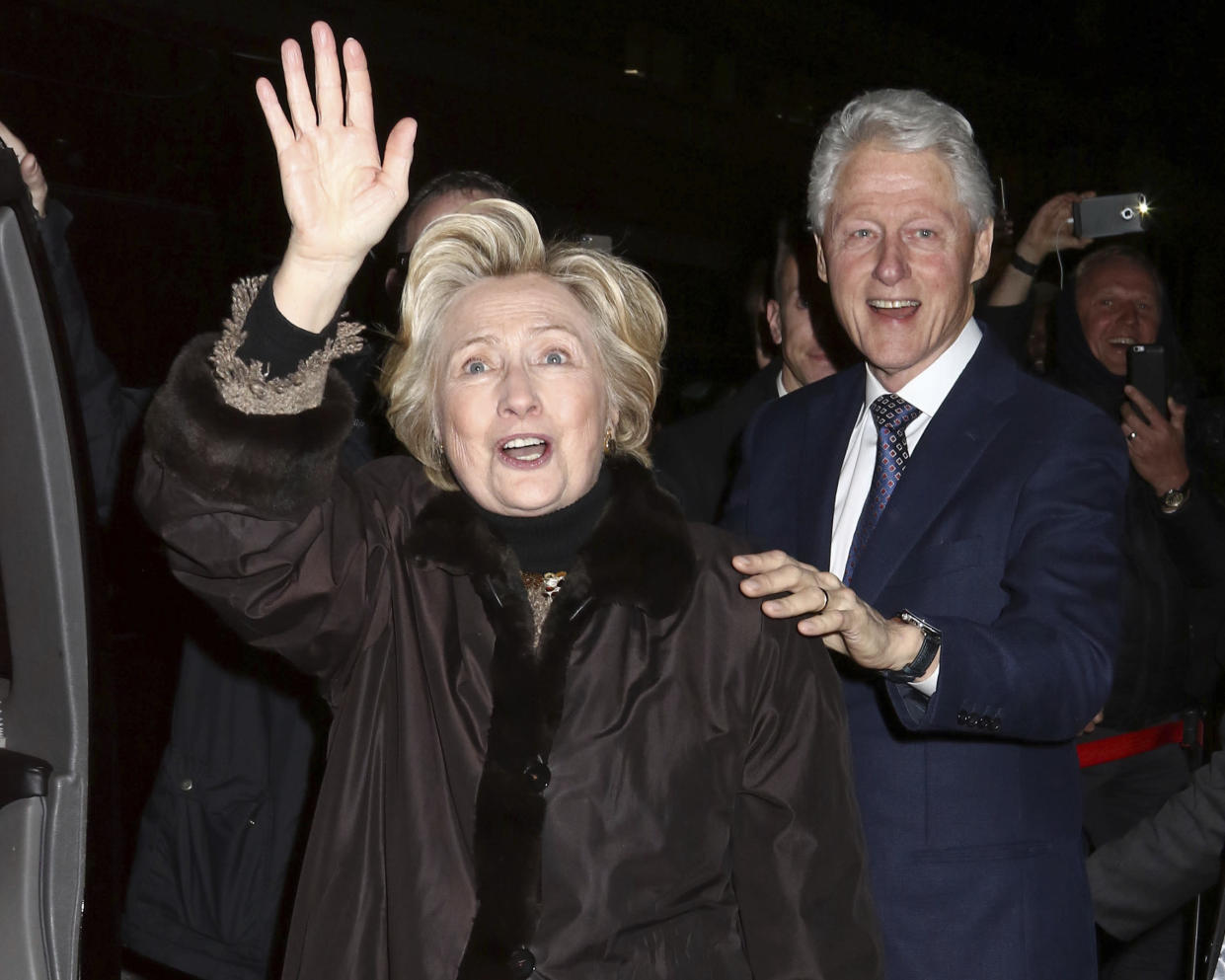 Former Secretary of State Hillary Clinton and former President Bill Clinton attend a Broadway musical at Circle in the Square Theatre in New York in February 2017. (Photo by Greg Allen/Invision/AP)