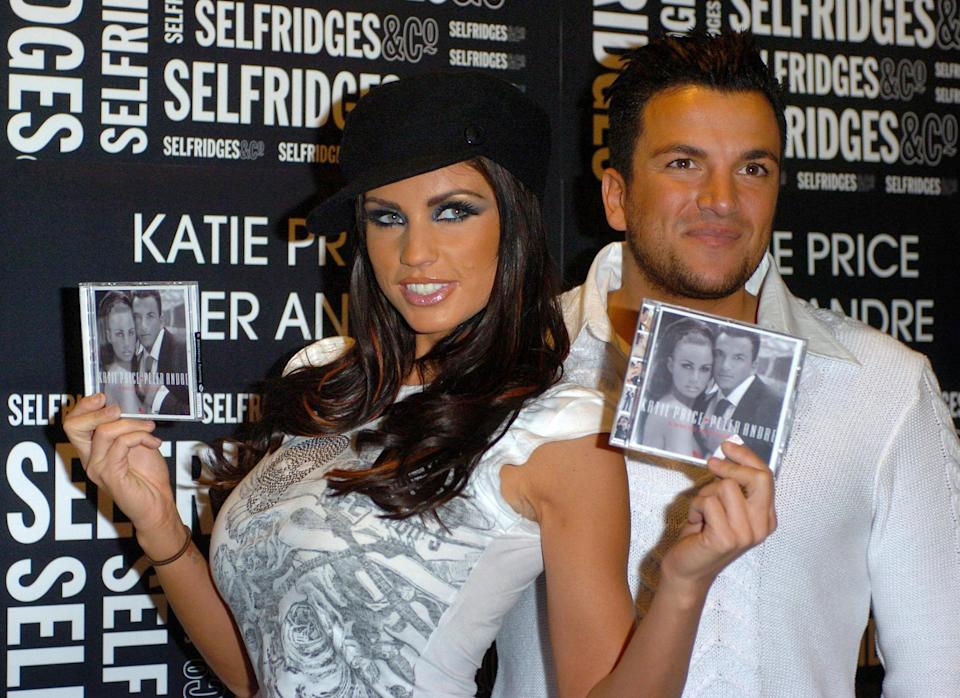 Katie Price and Peter Andre attend a signing for their new duets CD, A Whole New World, at Selfridge's in central London.   (Photo by Johnny Green - PA Images/PA Images via Getty Images)