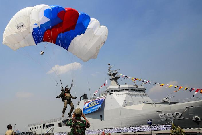 Indonesia military navy skydiving paratrooper