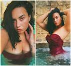 """Demi Lovato showed off her self-portrait skills with her most recent no-makeup selfies. """"Swipe to see how I discovered the self-timer feature for taking pics,"""" she captioned the <a href=""""https://www.instagram.com/p/B_tStGJB64H/"""" rel=""""nofollow noopener"""" target=""""_blank"""" data-ylk=""""slk:photos on Instagram"""" class=""""link rapid-noclick-resp"""">photos on Instagram</a>. She also tagged her usual photographer Angelo Kritikos, adding, 'you in trouble boo boo 😝🌴."""" Her <a href=""""https://www.glamour.com/story/demi-lovato-accidentally-popped-up-on-her-rumored-new-boyfriend-max-ehrich-instagram-live?mbid=synd_yahoo_rss"""" rel=""""nofollow noopener"""" target=""""_blank"""" data-ylk=""""slk:rumored boyfriend"""" class=""""link rapid-noclick-resp"""">rumored boyfriend</a> (now <a href=""""https://www.glamour.com/story/demi-lovato-is-engaged-to-max-ehrich?mbid=synd_yahoo_rss"""" rel=""""nofollow noopener"""" target=""""_blank"""" data-ylk=""""slk:fiancé"""" class=""""link rapid-noclick-resp"""">fiancé</a>), Max Ehrich, responded to the photos with a simple 😍."""