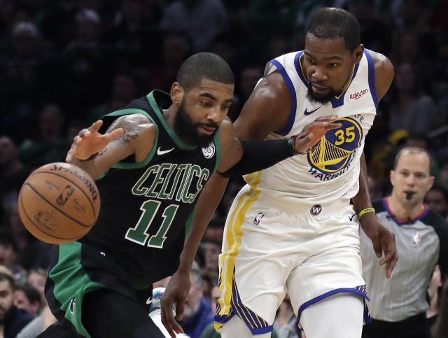 Kyrie Irving and Kevin Durant will be in New York, but not playing for the Knicks. (AP Photo/Elise Amendola)