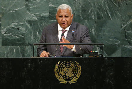 Fiji Prime Minister Bainimarama addresses the 72nd United Nations General Assembly at U.N. headquarters in New York