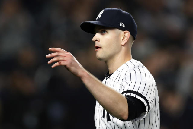 New York Yankees starting pitcher James Paxton waves to the crowd after pitching eight innings in the Yankees' 8-0 win over the Boston Red Sox in a baseball game Tuesday, April 16, 2019, in New York. (AP Photo/Kathy Willens)