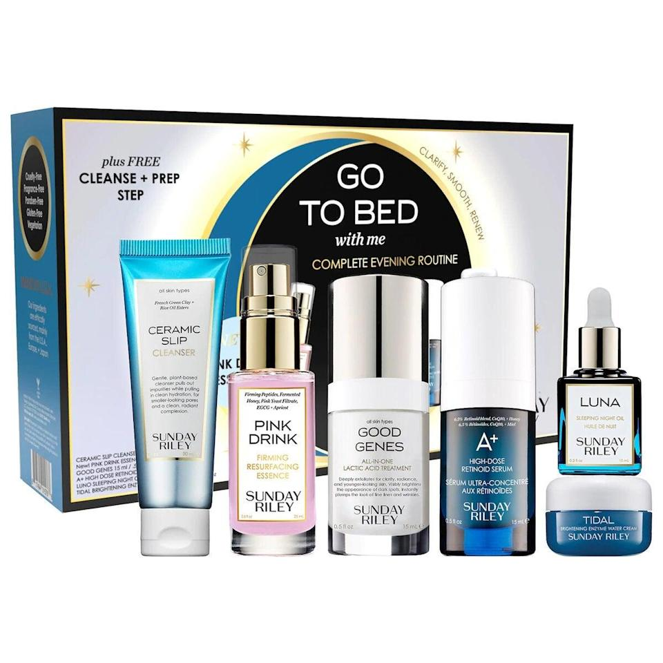 "<h3>Sunday Riley Go To Bed With Me Complete Anti-Aging Night Routine</h3> <br> If the best part of your day is when you get to remove your makeup and drench your skin in luxe serums and oils galore, Sunday Riley's night-time routine is the dream beauty gift for you <br> <br> <strong>Sunday Riley</strong> Go To Bed With Me Complete Anti-Aging Night Routine, $, available at <a href=""https://go.skimresources.com/?id=30283X879131&amp;url=https%3A%2F%2Fwww.sephora.com%2Fproduct%2Fsunday-riley-go-to-bed-with-me-evening-routine-kit-P463966"" rel=""nofollow noopener"" target=""_blank"" data-ylk=""slk:Sephora"" class=""link rapid-noclick-resp"">Sephora</a>"
