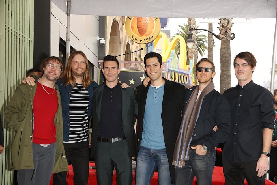 HOLLYWOOD, CA - FEBRUARY 10:  Adam Levine and Maroon 5 attend the ceremony honoring Adam Levine with a Star on The Hollywood Walk of Fame held on February 10, 2017 in Hollywood, California.  (Photo by Michael Tran/FilmMagic)