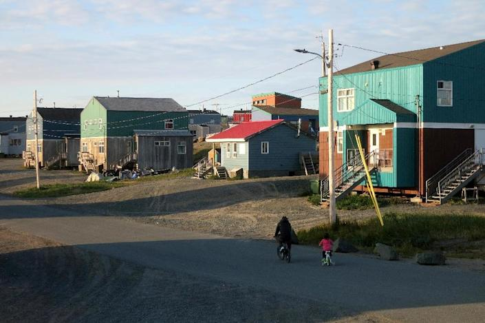 A street in the Inuit village of Umiujaq, in Nunavik territory, Hudson Bay, Quebec (AFP Photo/Catherine Hours)