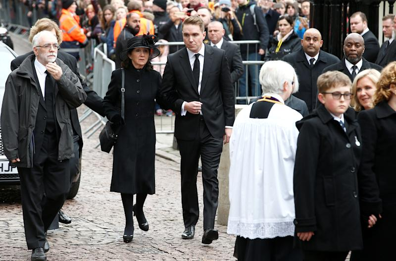 Jane Hawking and her son Timothy arrive at Great St Marys Church, where the funeral of theoretical physicist Prof Stephen Hawking is being held, in Cambridge, Britain, March 31, 2018. REUTERS/Henry Nicholls
