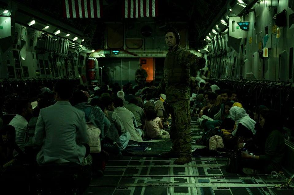 Mustafa and his family were crowded into a military aircraft similar to this (US Air Force/Getty)