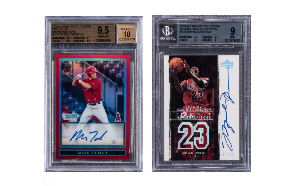 Mike Trout autographed rookie card that sold for $922,500 (L); Michael Jordan autographed card that sold for $187,730. (via Goldin Auctions)