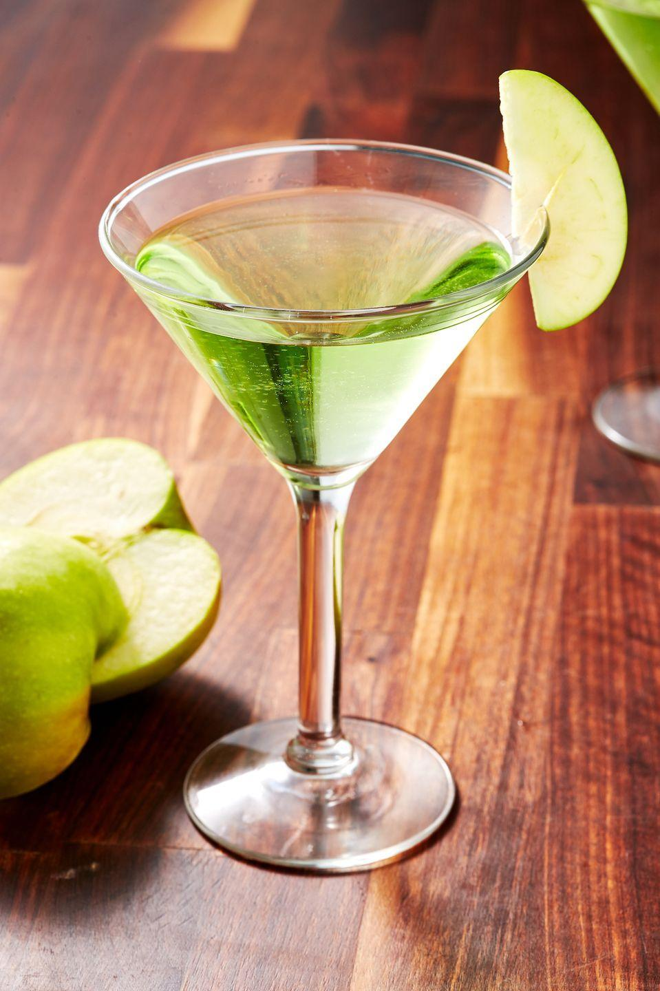 """<p>Green and fruity.</p><p>Get the recipe from <a href=""""https://www.delish.com/cooking/recipe-ideas/a28711920/appletini-apple-martini-recipe/"""" rel=""""nofollow noopener"""" target=""""_blank"""" data-ylk=""""slk:Delish"""" class=""""link rapid-noclick-resp"""">Delish</a>.</p>"""