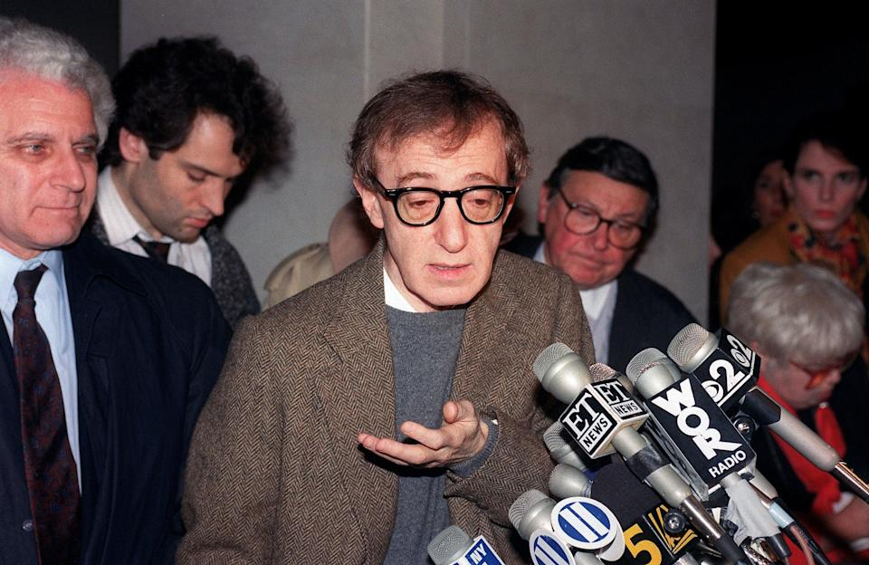 <p>Allen at a 1993 press conference in New York over child custody</p> (AFP/Getty)