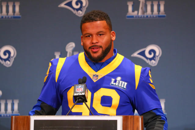 Aaron Donald was in demand in Atlanta during Super Bowl week. (Getty Images)