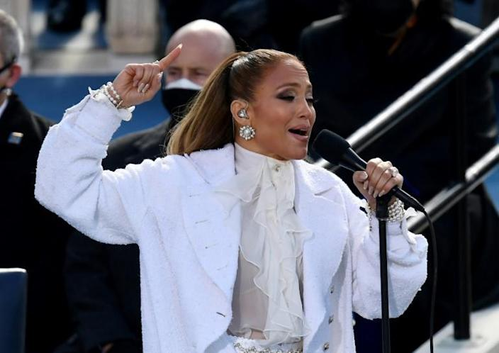 Singer Jennifer Lopez performs during the inauguration of Joe Biden as the 46th US President on January 20, 2021