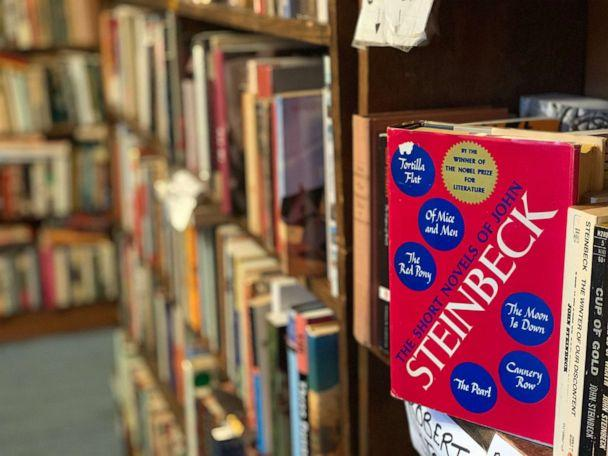 PHOTO: 'The Short Novels of John Steinbeck,' sits on the shelf at Capitol Hill Books in Washington, March 22, 2020. (Courtesy Kyle Burk)