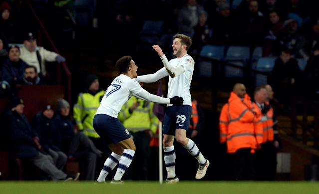 "Soccer Football - Championship - Aston Villa vs Preston North End - Villa Park, Birmingham, Britain - February 20, 2018 Preston North End's Tom Barkhuizen celebrates scoring their first goal with Callum Robinson Action Images/Adam Holt EDITORIAL USE ONLY. No use with unauthorized audio, video, data, fixture lists, club/league logos or ""live"" services. Online in-match use limited to 75 images, no video emulation. No use in betting, games or single club/league/player publications. Please contact your account representative for further details."