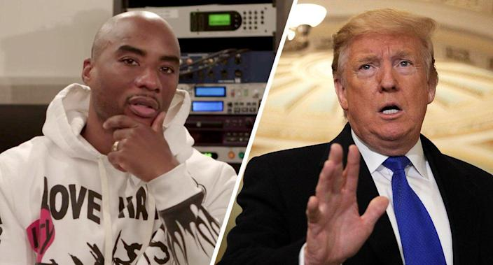 Charlamagne Tha God and President Trump. (Photos: Yahoo News, Alex Wong/Getty Images)