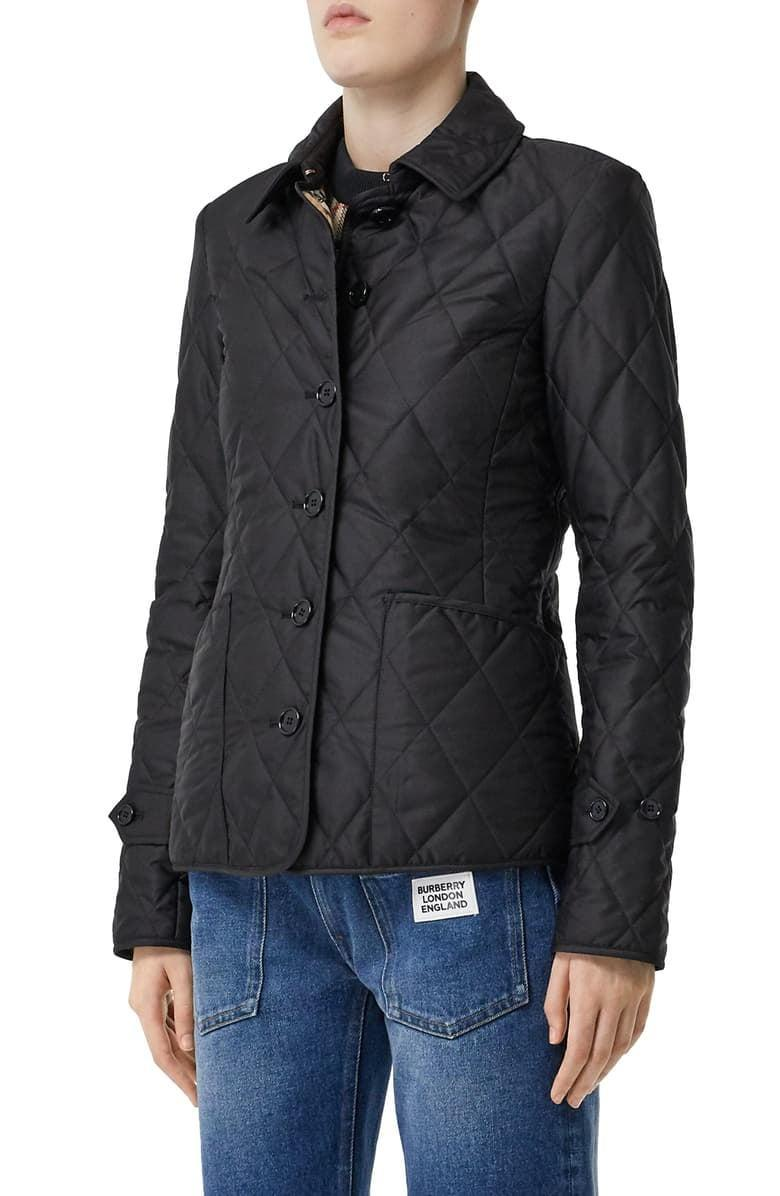 <p>They'll stay warm and weather protected with the <span>Burberry Fernleigh Thermoregulated Diamond Quilted Jacket</span> ($750).</p>