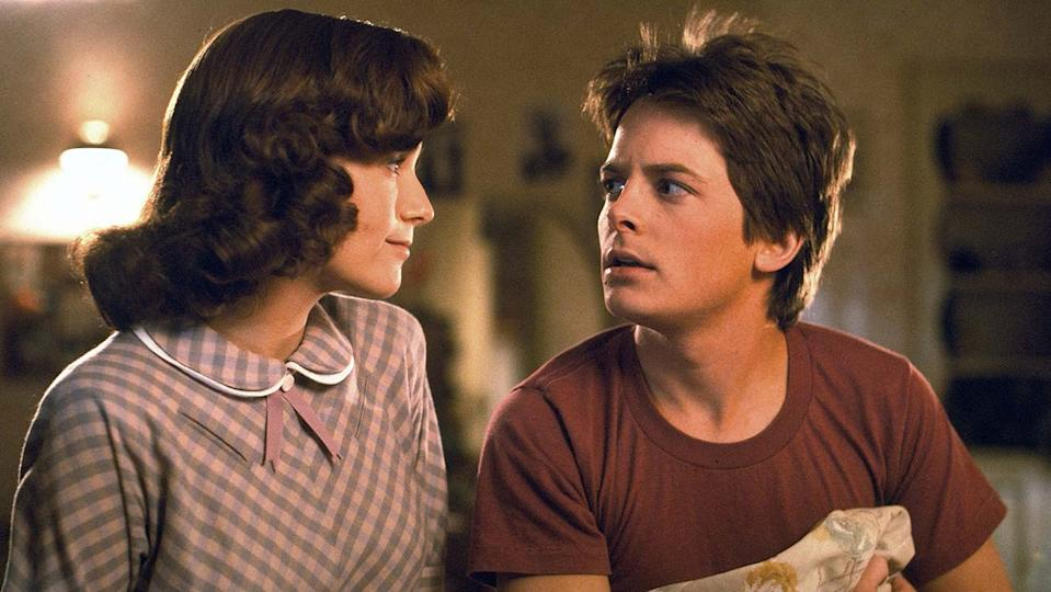 Lea Thompson and Michael J. Fox in 'Back to the Future'. (Credit: Universal)