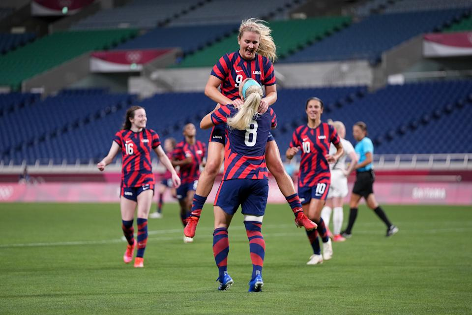 Lindsey Horan (9) celebrates with Julie Ertz after scoring the second goal against New Zealand in the USWNT's 6-1 win on Saturday at the Olympics. (Photo by Brad Smith/ISI Photos/Getty Images)